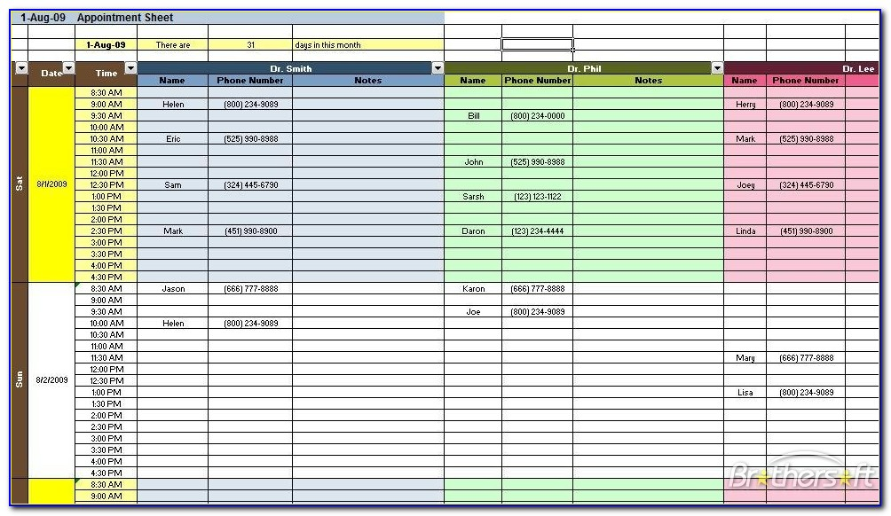 Daily Appointment Planner Template Free