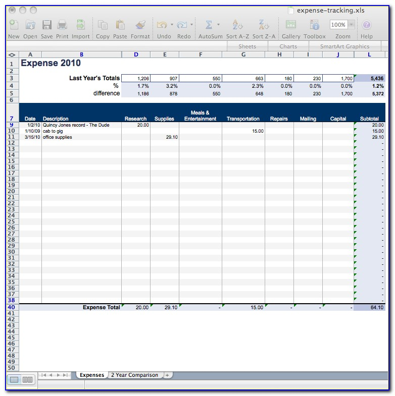 Daily Expense Tracking Spreadsheet Template