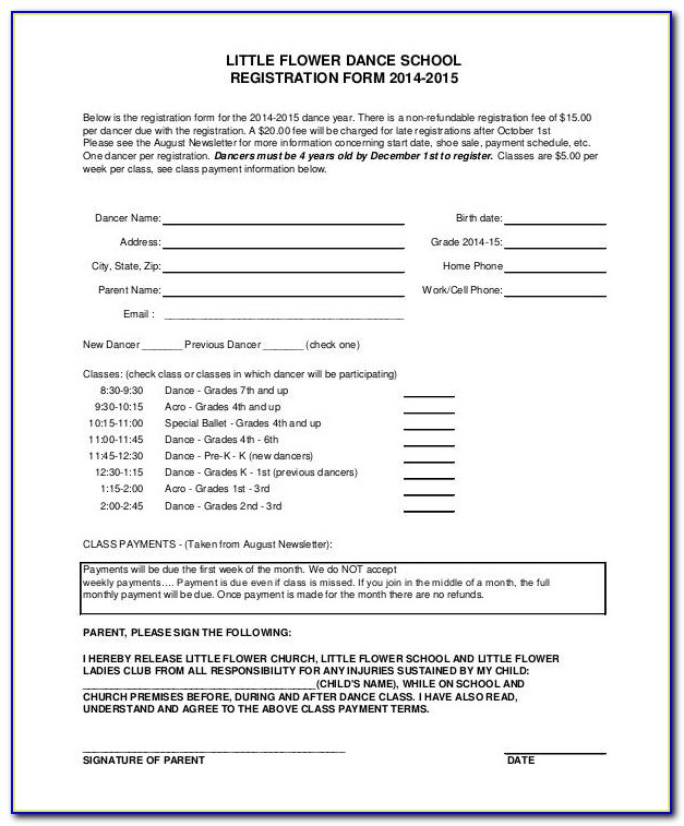 Dance Registration Form Template
