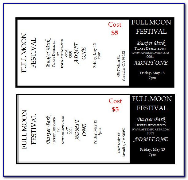 Dance Ticket Template Free Download