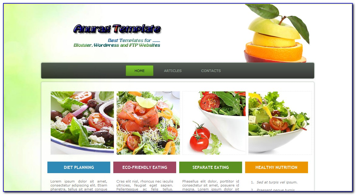Dietitian Website Templates Free Download