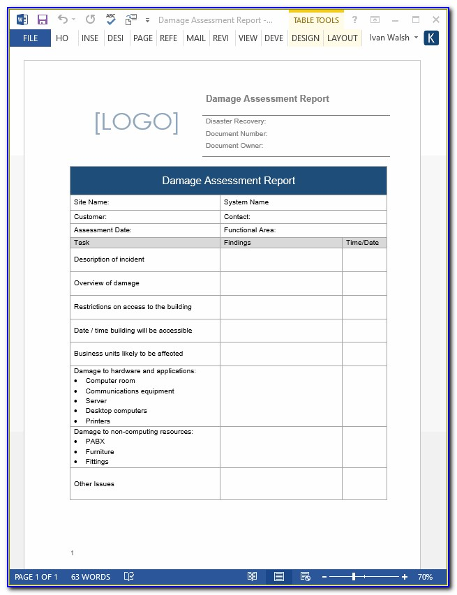 Disaster Recovery Report Template