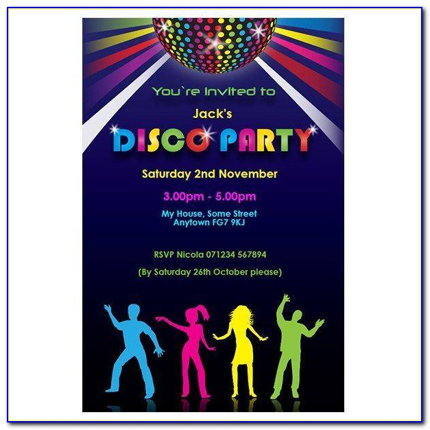 Disco Theme Party Invitations 3583