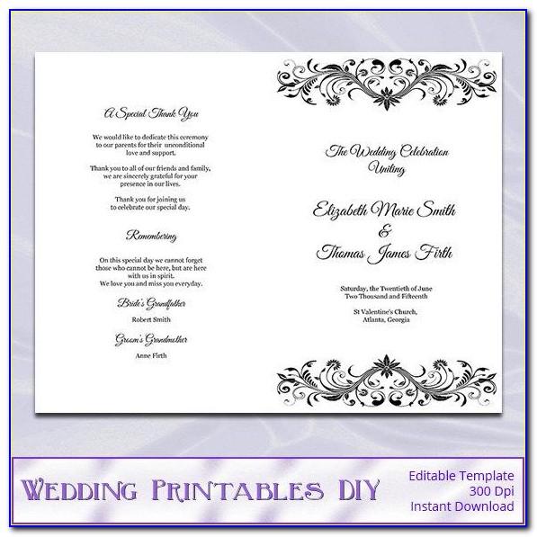 Diy Wedding Program Booklet Template