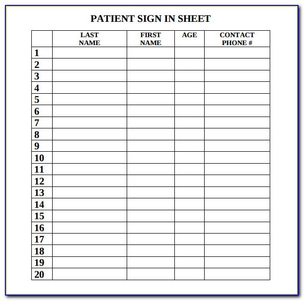 Doctor's Office Sign In Sheet Template