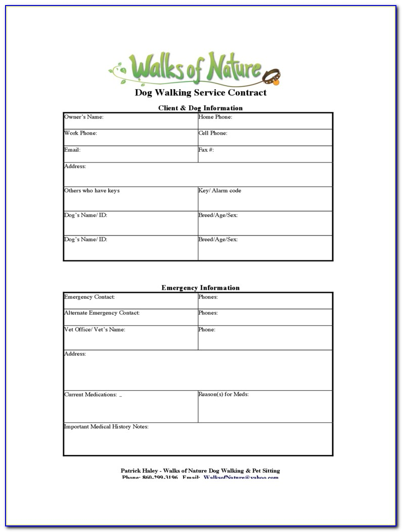 Dog Walker Contract Form