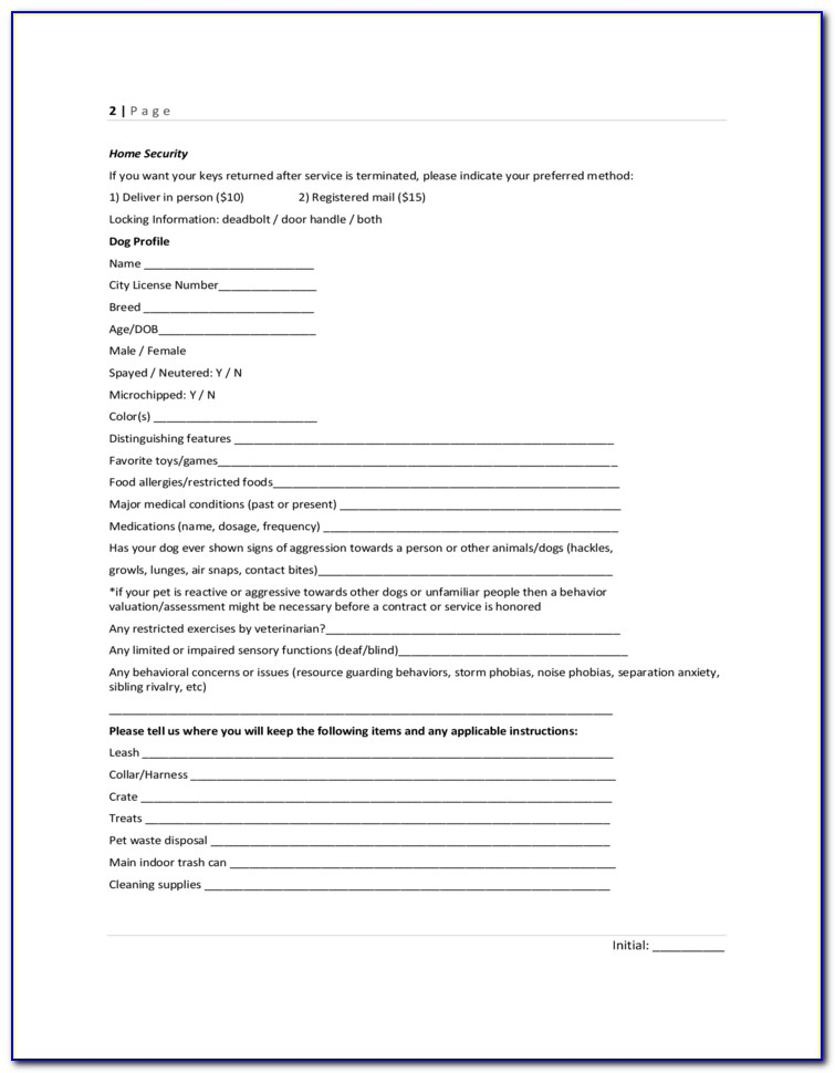 Dog Walking And Pet Sitting Contract Template