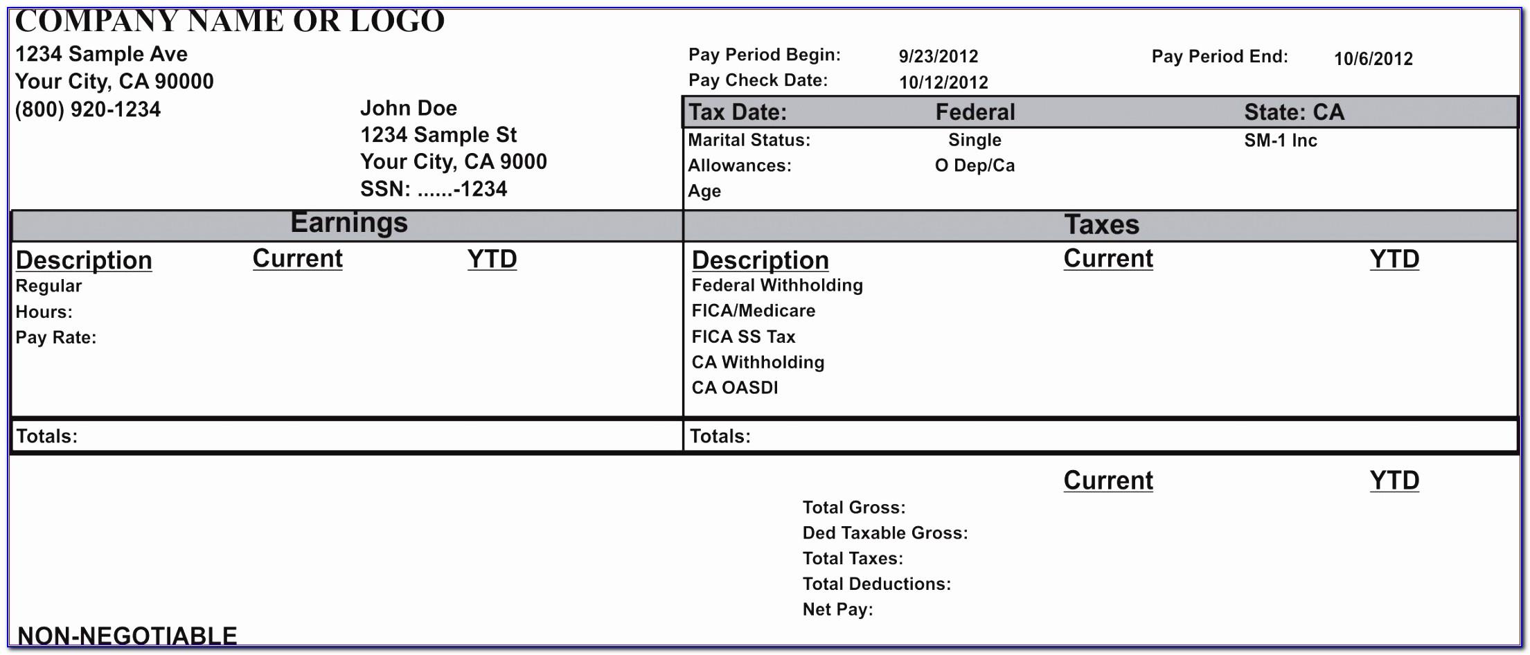 Paycheck Stub Template Excel Rfeva Elegant Paycheck Stub Sample Free