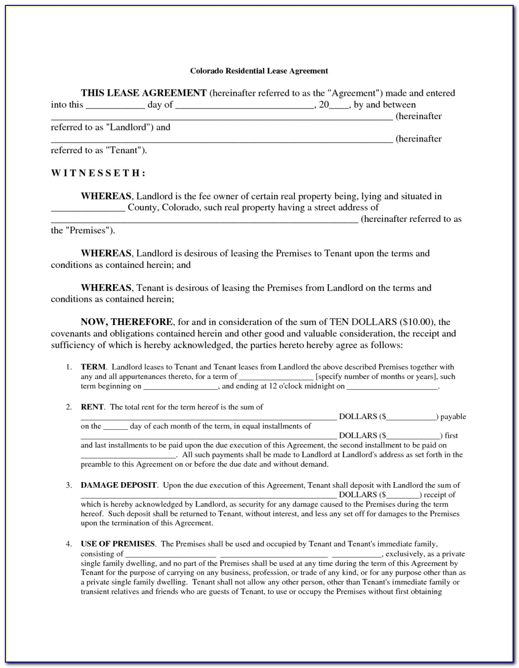 Download Lease Agreement Form South Africa