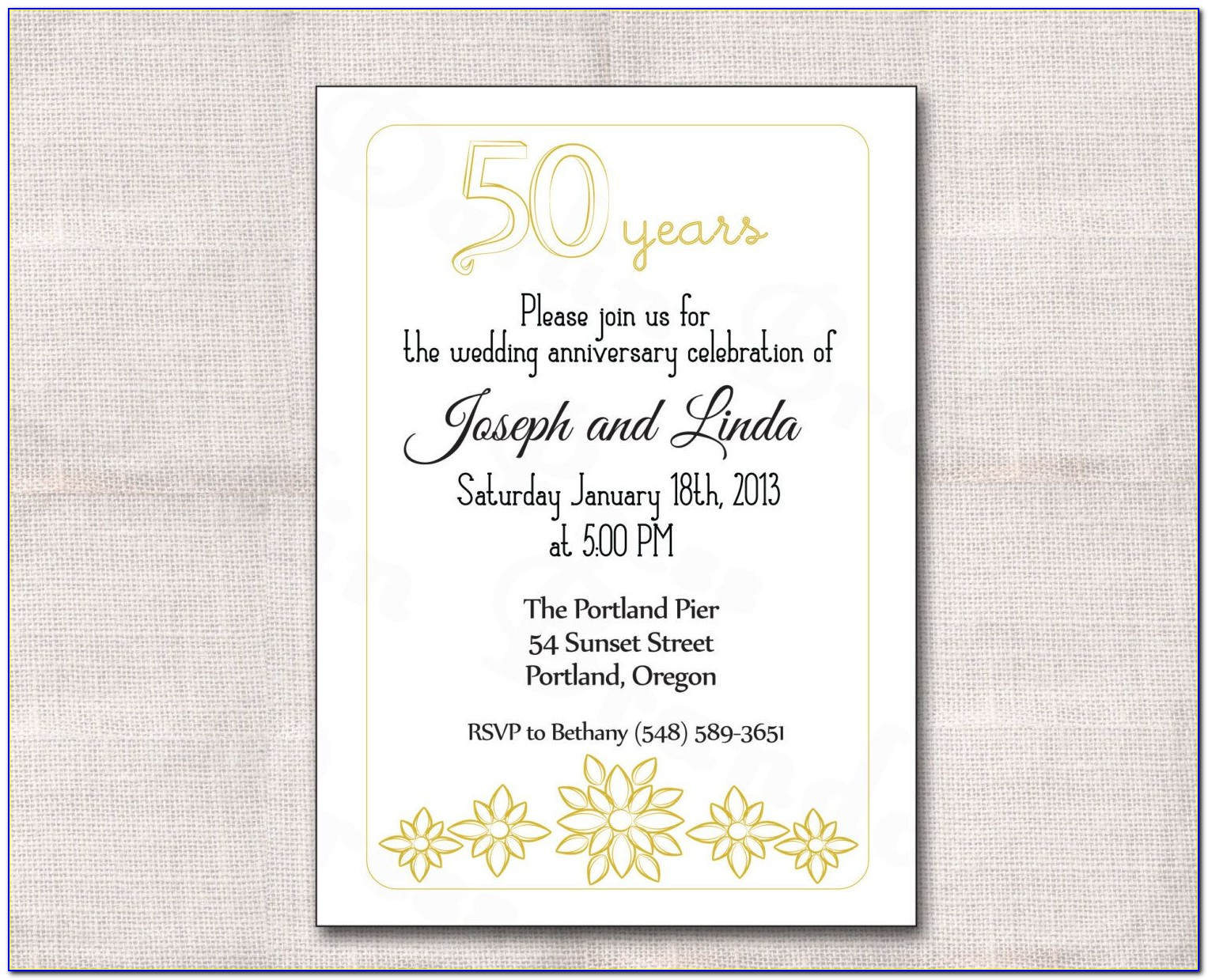 Downloadable Golden Wedding Anniversary Invitation Template