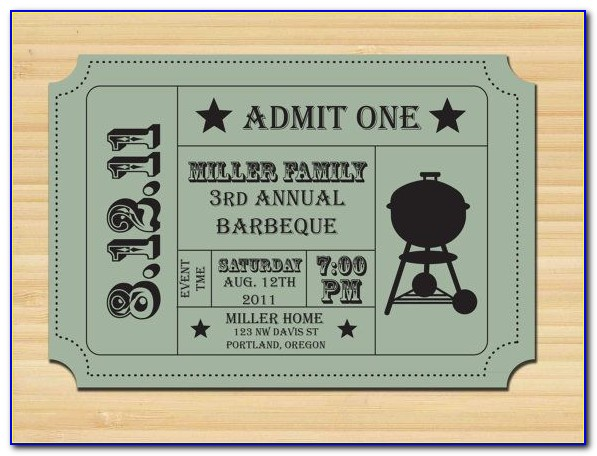 Editable Bbq Ticket Template Free