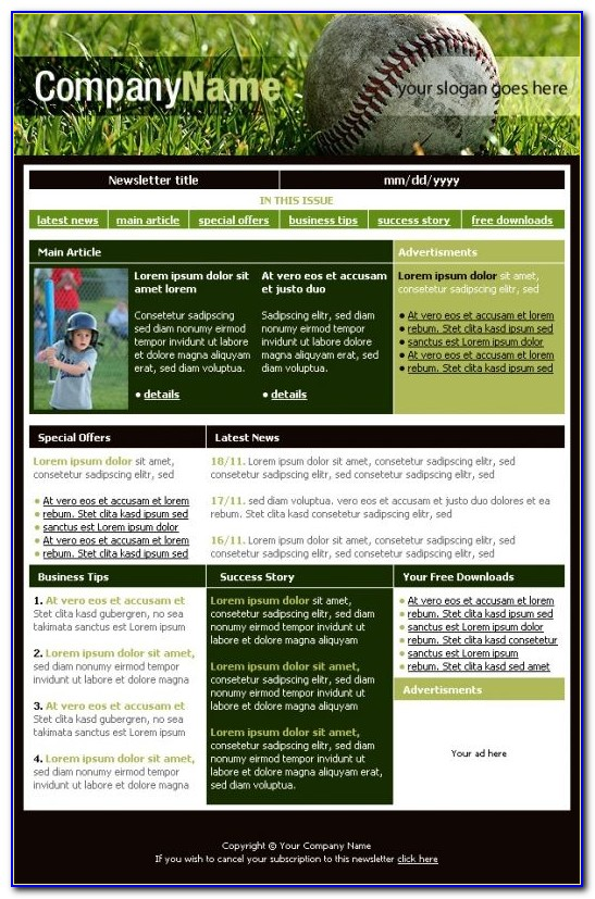 Electronic Newsletters Templates Free