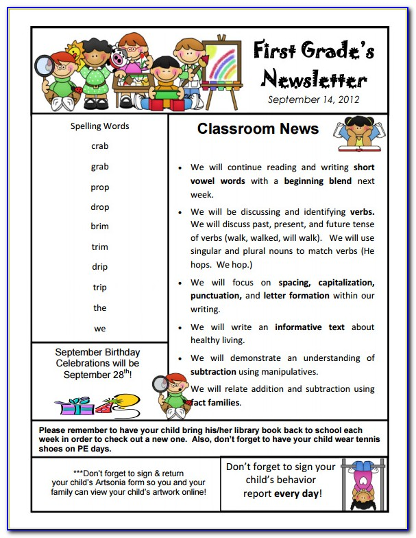 Elementary Teacher Newsletter Templates Free