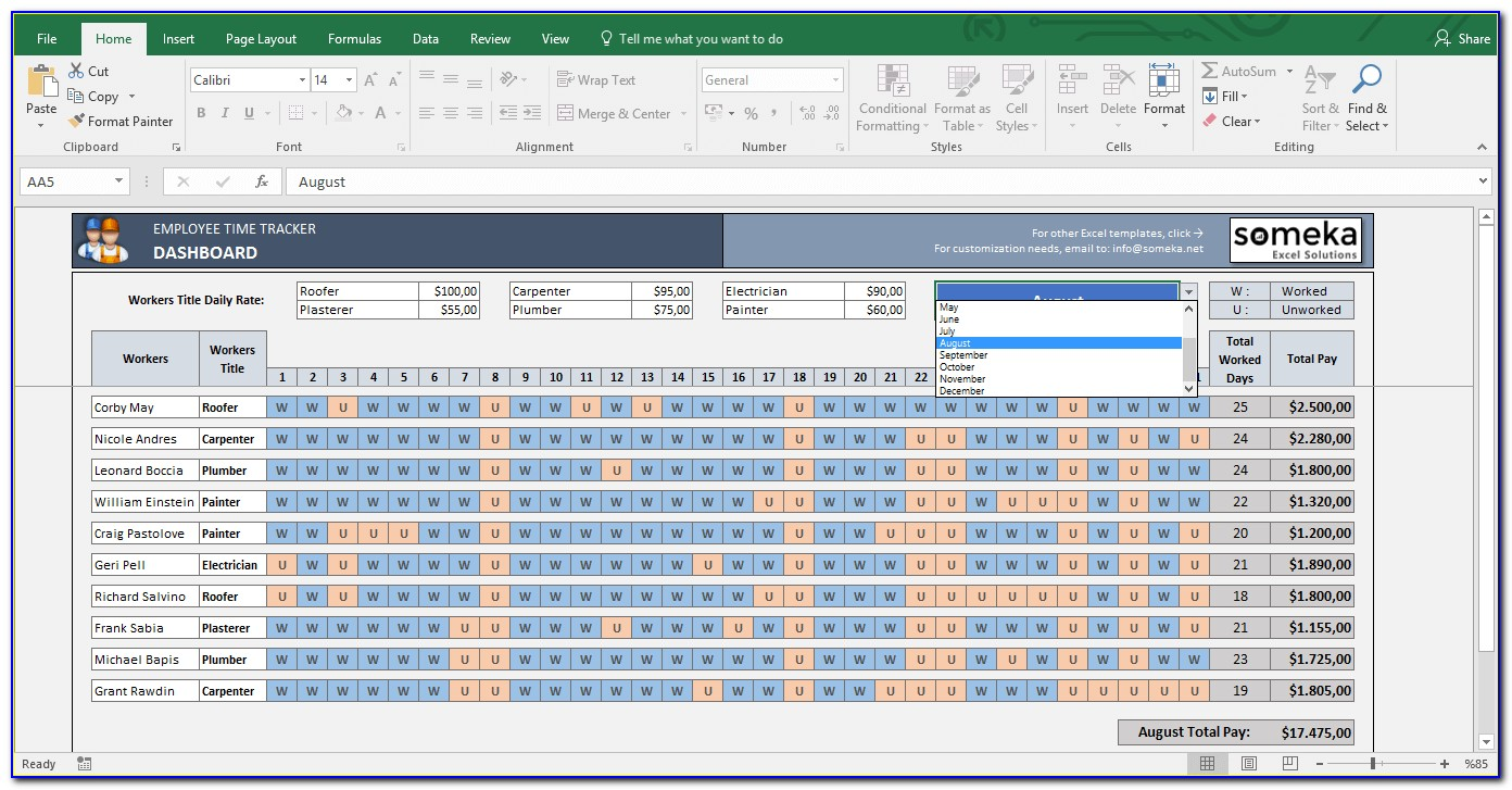 Employee Absence (vacation & Sick Time)tracking Excel Template