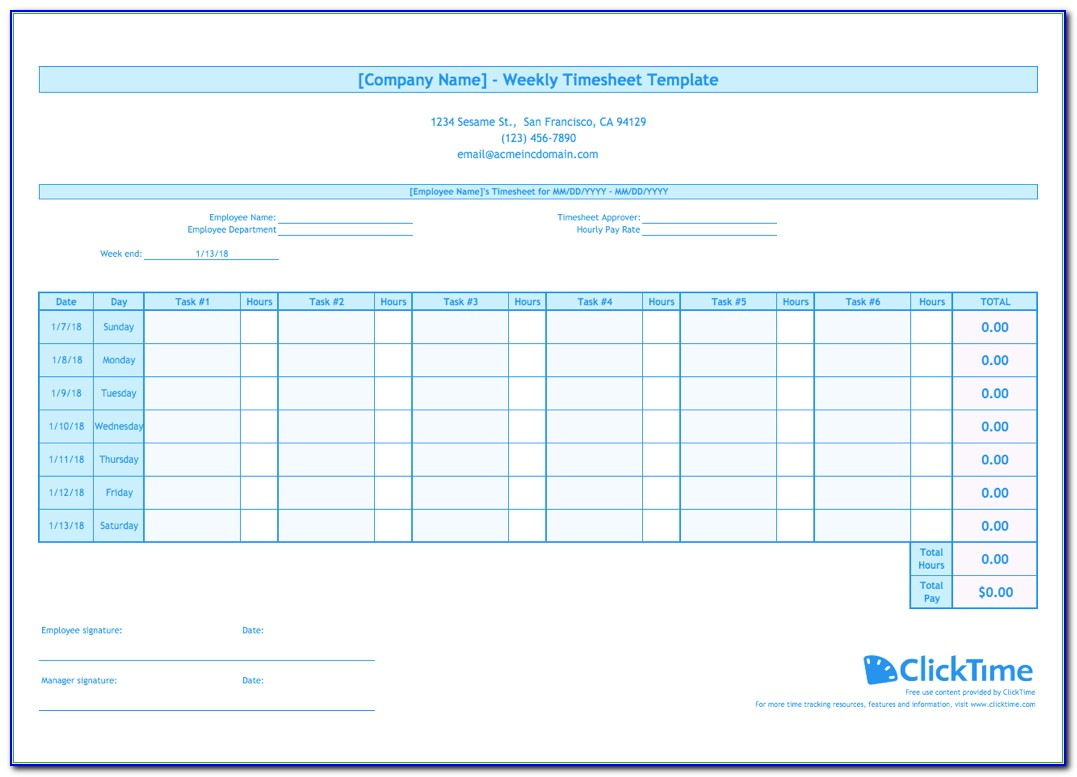 Weekly Timesheet Template | Free Excel Timesheets | Clicktime For Employee Hour Tracking Template
