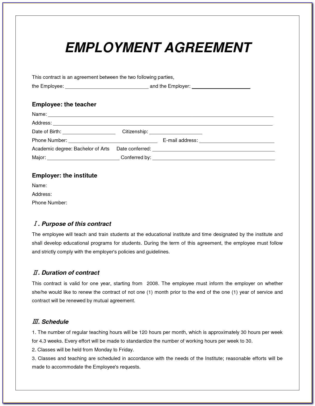Employee Agreement Templates