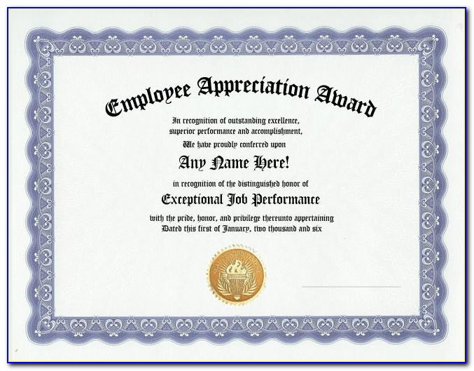 Employee Appreciation Certificate Examples