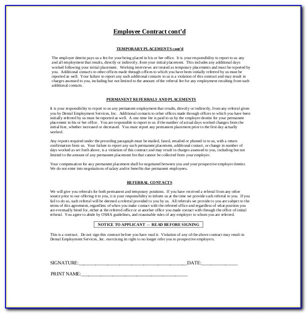 Employee Contracts Agreements