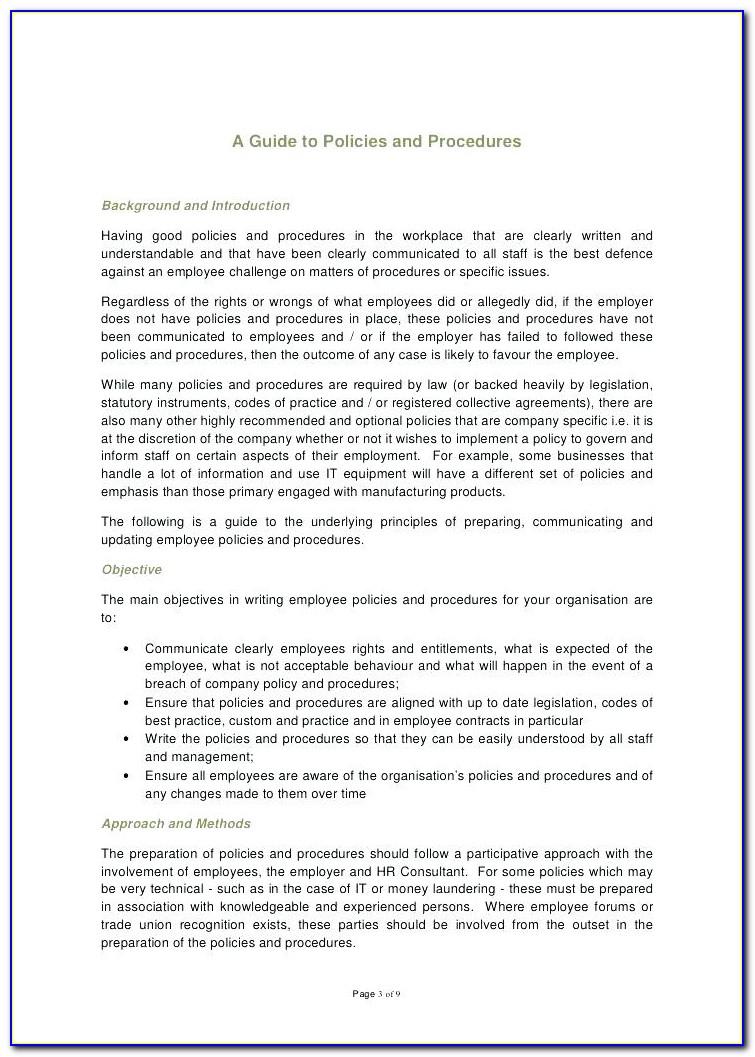 Employee Handbook Template Uk 2018