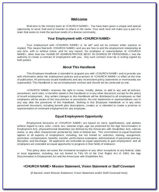 Employee Handbook Template Uk Free