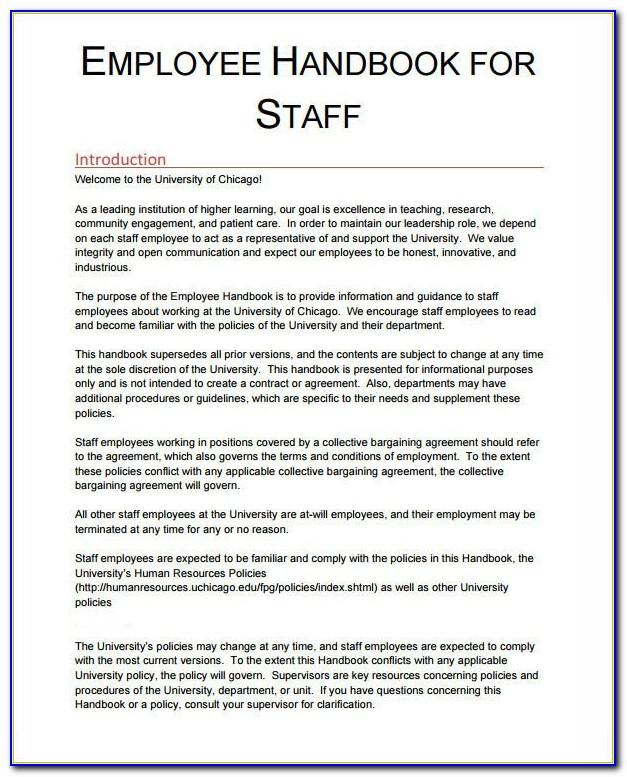 Employee Handbook Template Word Uk