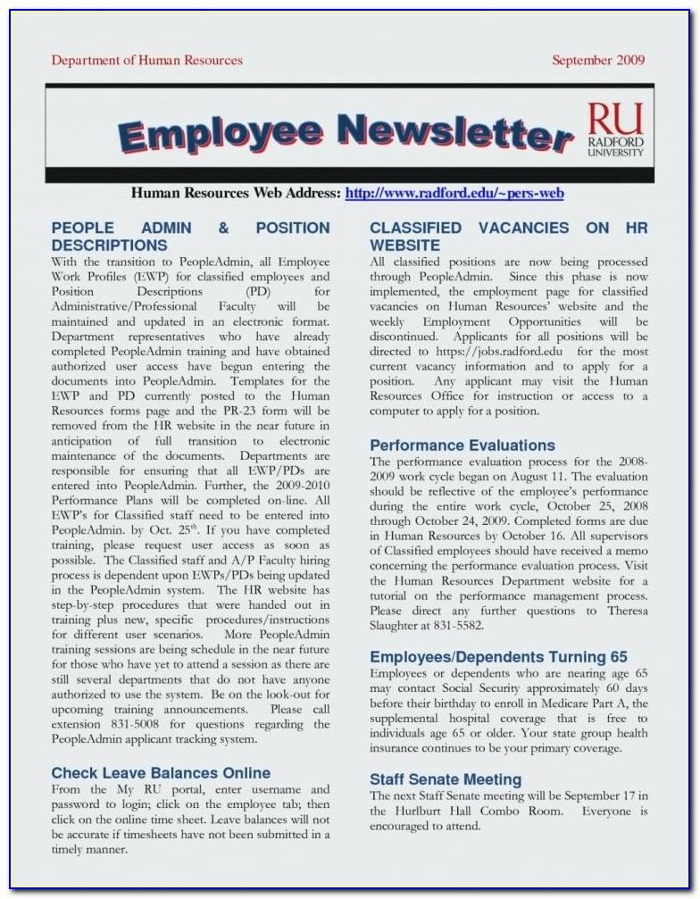 Employee Newsletter Templates Free