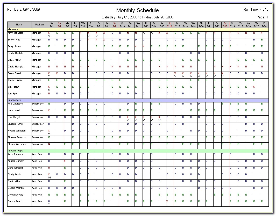 Employee Schedule Monthly Template