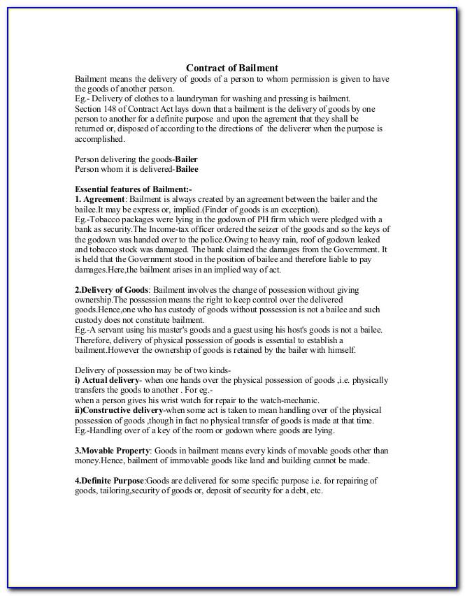 Equipment Bailment Agreement Template