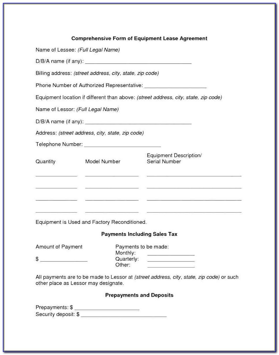 Equipment Rental Agreement Template Uk Free