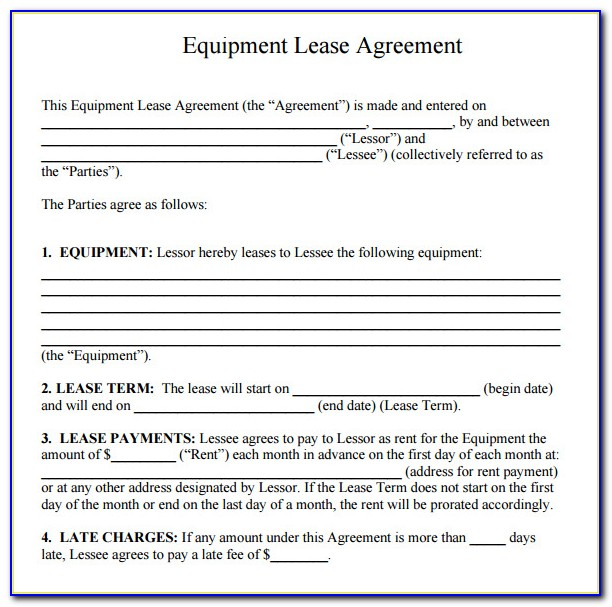 Equipment Rental Contract Template Uk