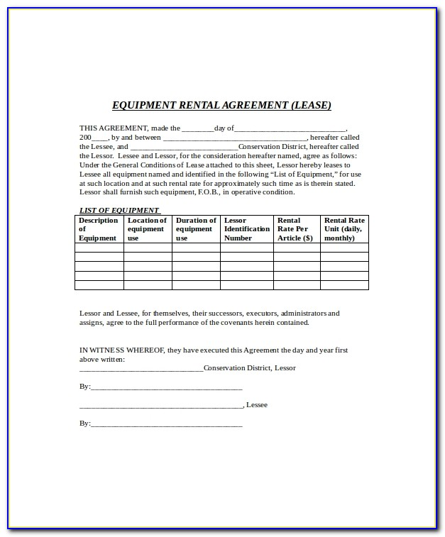 Equipment Renting Contract Template