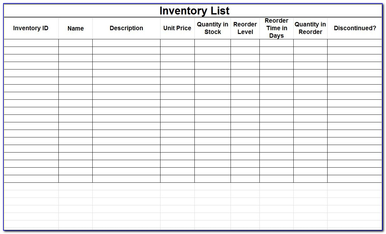 Excel Inventory Template With Images