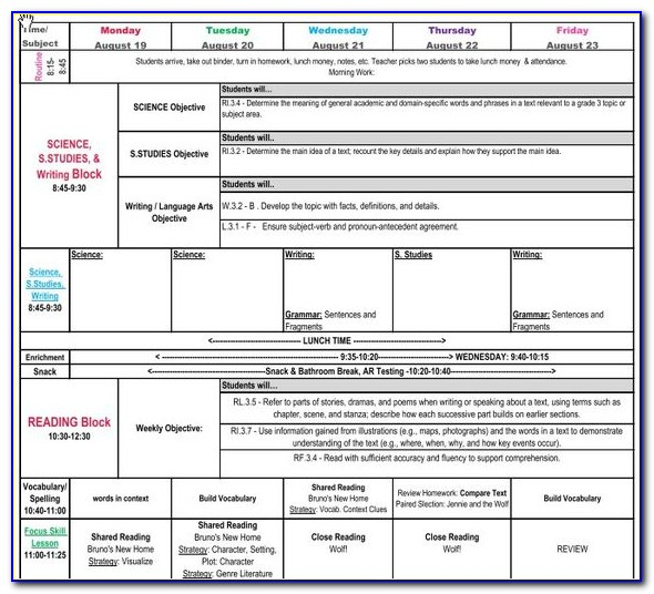 Excel Lesson Plan Template Free
