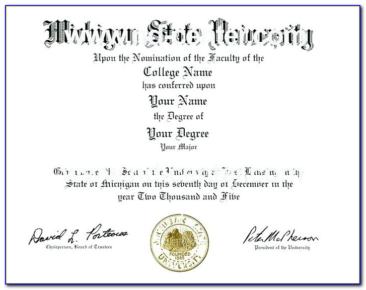 Fake Bachelor Degree Certificate Template
