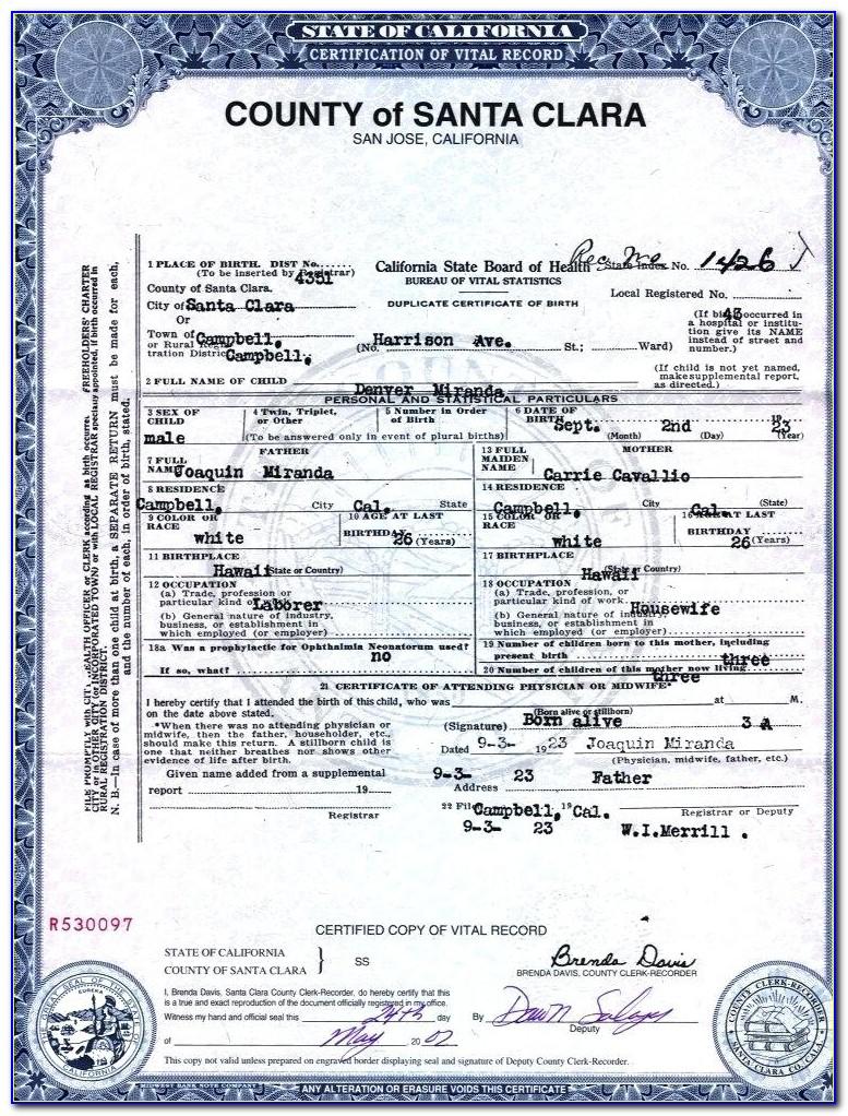 Fake California Birth Certificate Template