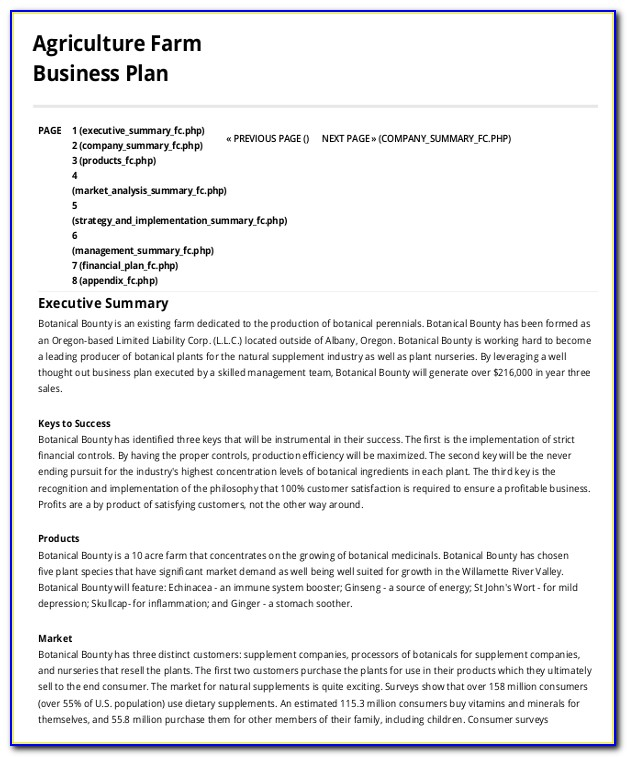 Farming Business Plan Template Pdf