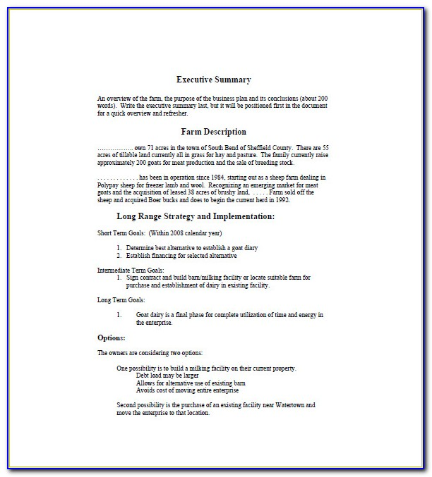 Farming Business Plan Templates Free