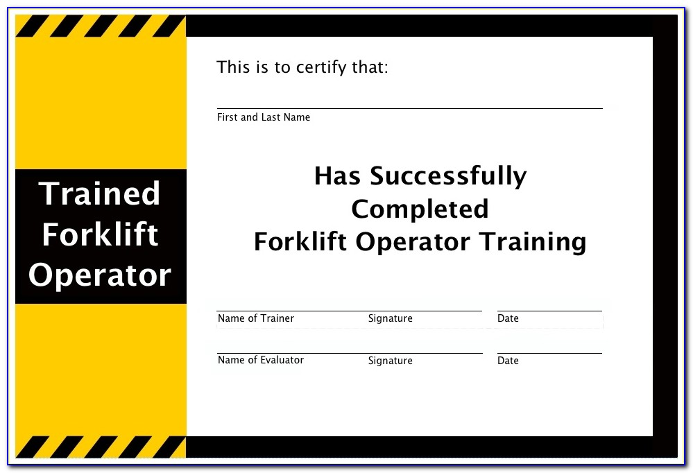Forklift Certification Card Template Best And Various Templates Forklift Certificate Template Forklift Certificate Template