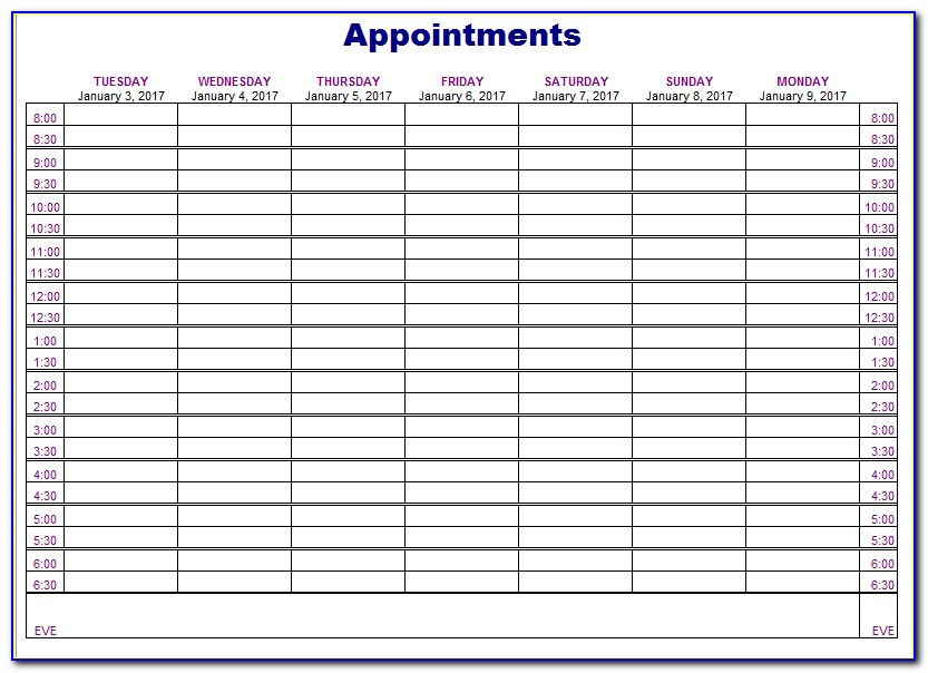Free Appointment Scheduling Calendar Template