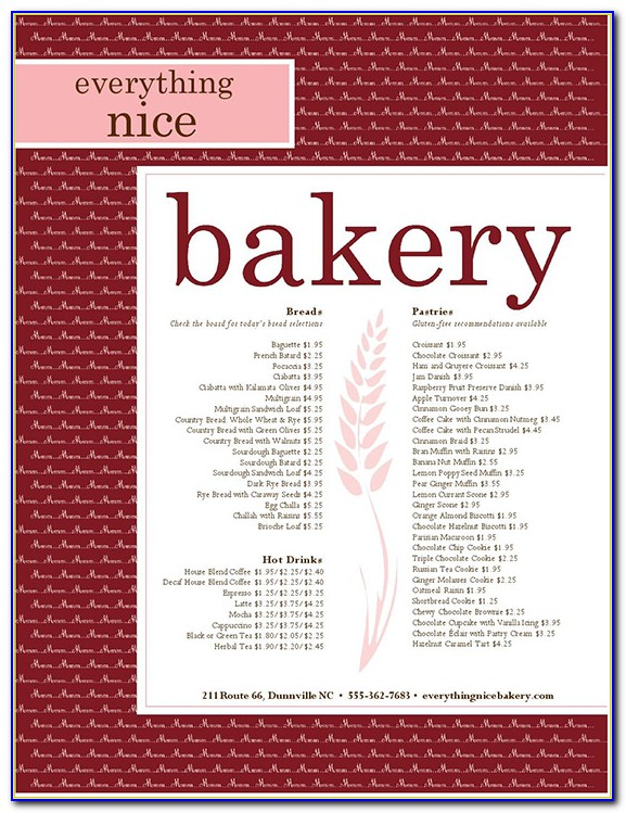 Free Bakery Menu Template Word