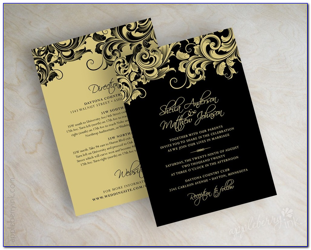 Free Black And Gold Wedding Invitation Templates