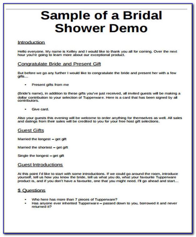 Free Bridal Shower Agenda Template
