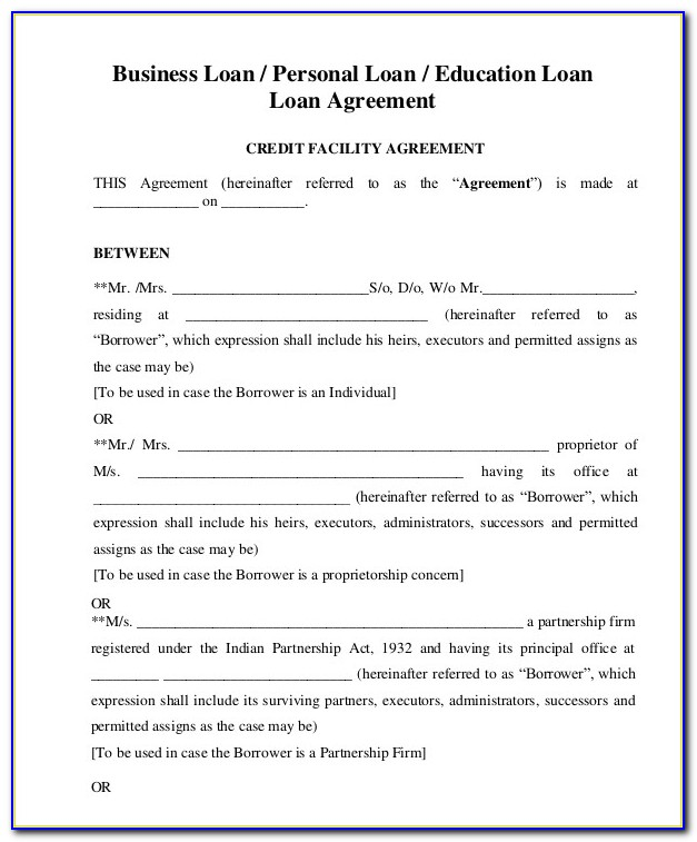 Free Business Loan Agreement Template Word