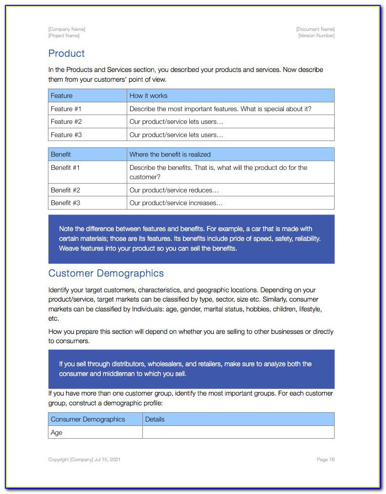 Free Business Plan Template For Mac Pages