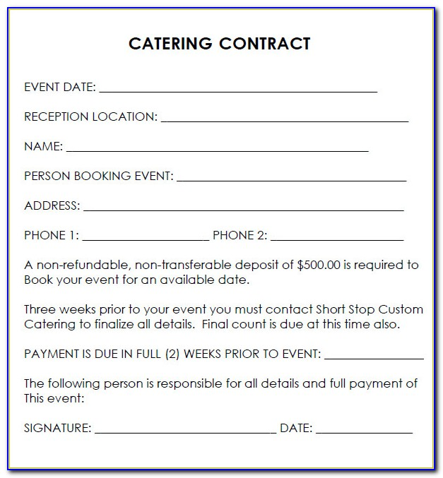 Free Catering Contract Template Word