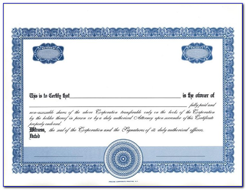 Free Certificate Of Stock Template