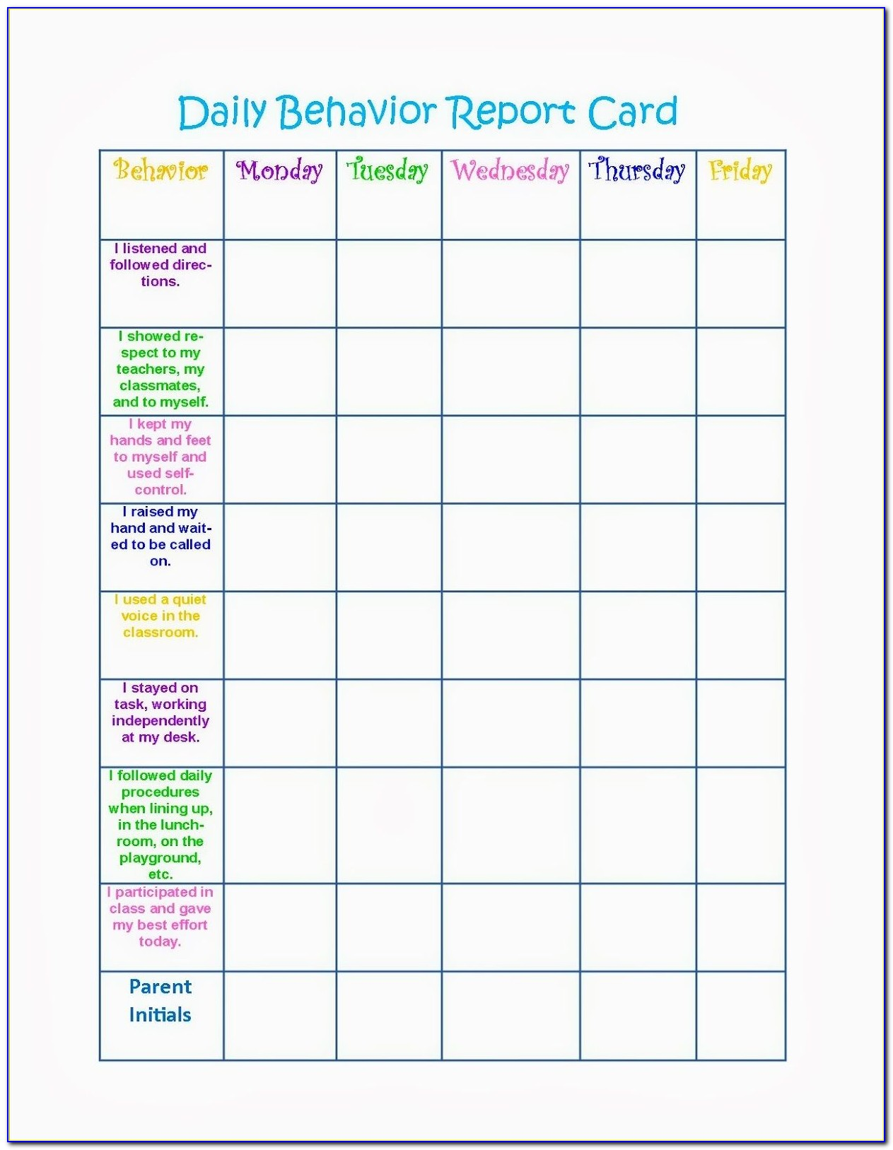 Free Children's Behavior Chart Template