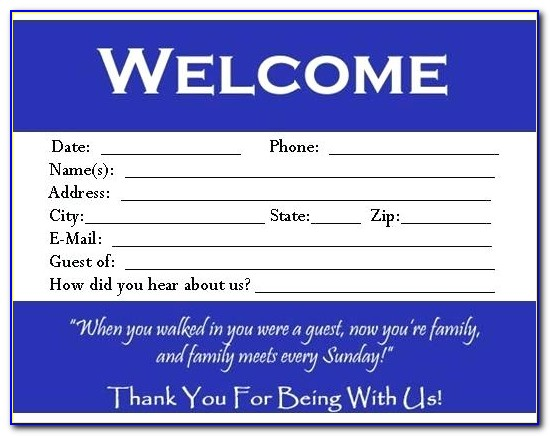 Free Church Visitor Card Template Downloads