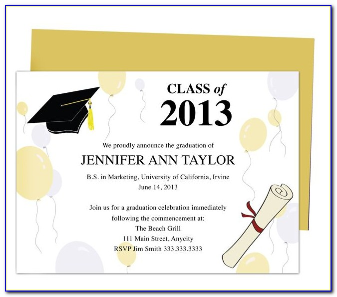 Free College Graduation Invitation Templates For Word