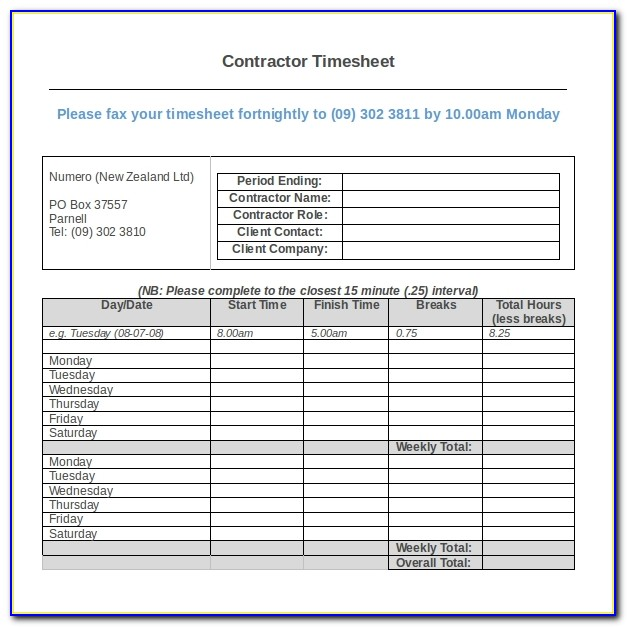 Free Contractor Timesheet Template Excel